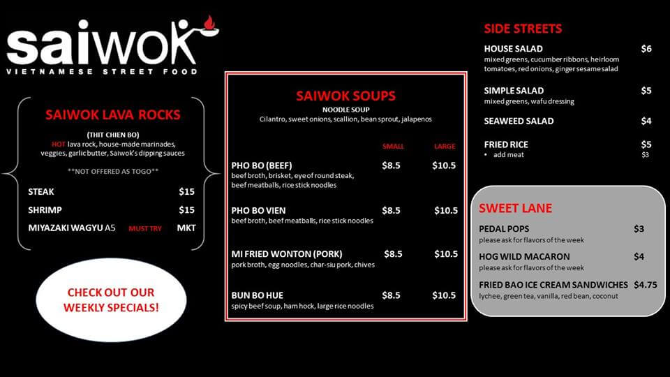 Saiwok Vietnames Street Food Dinner Menu Page 1
