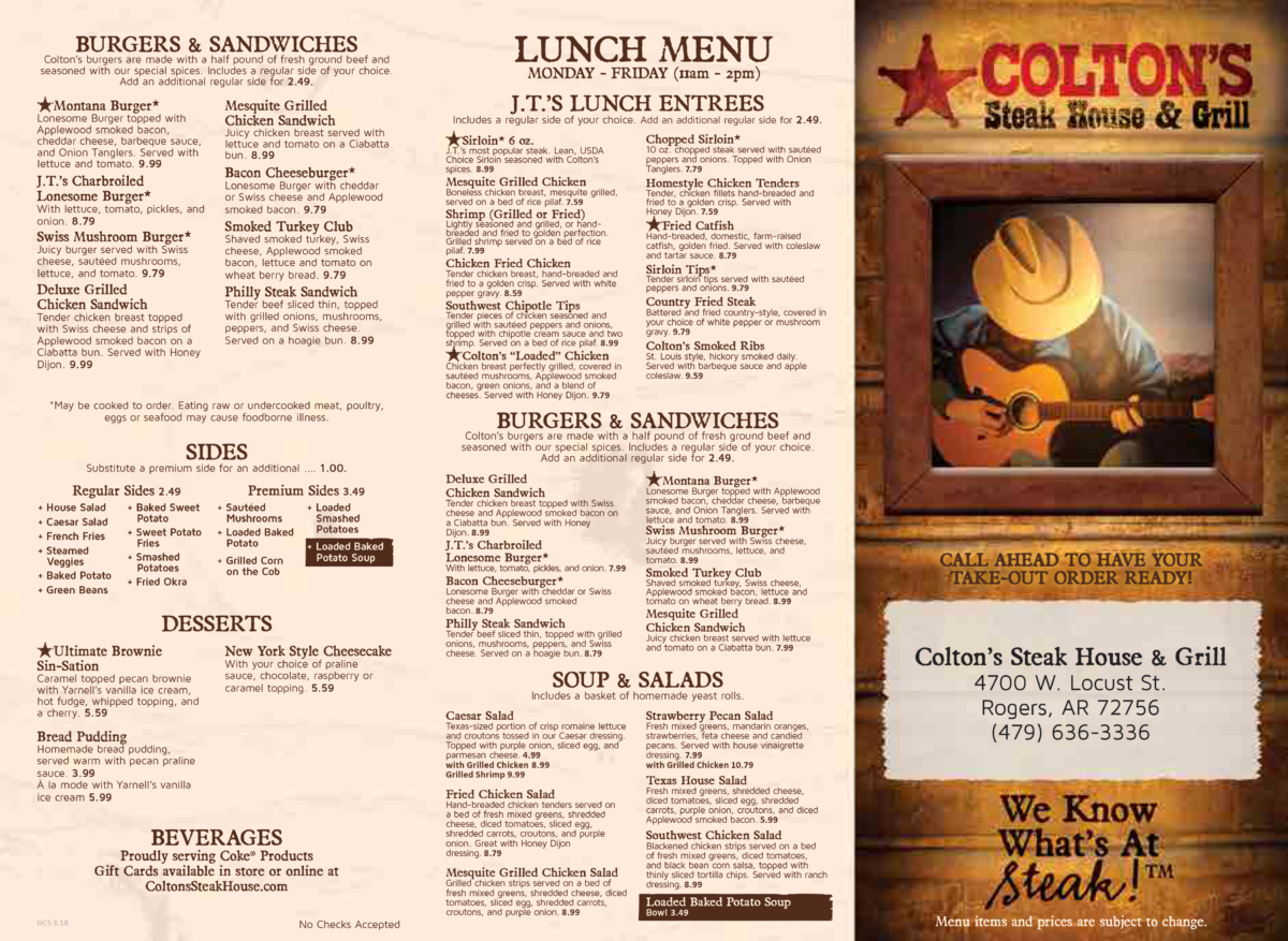 Colton's Steak House Rogers Menu 1