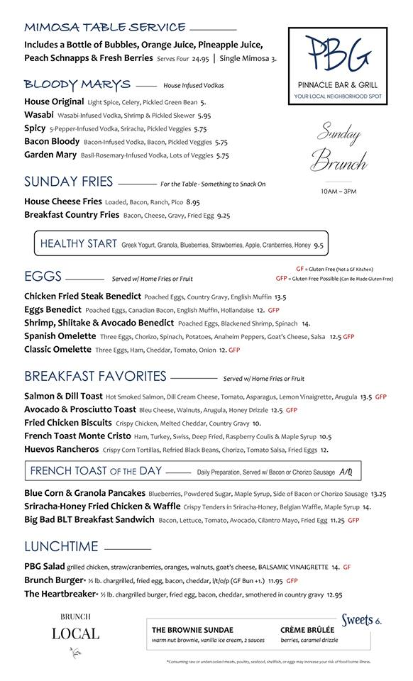 Pinnacle Bar and Grill Brunch Menu
