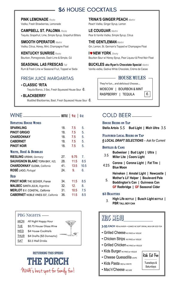 Pinnacle Bar and Grill Drink Menu