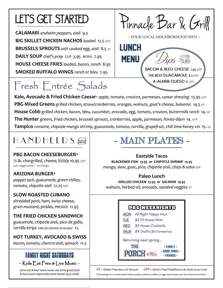 Pinnacle Bar and Grill Lunch Menu