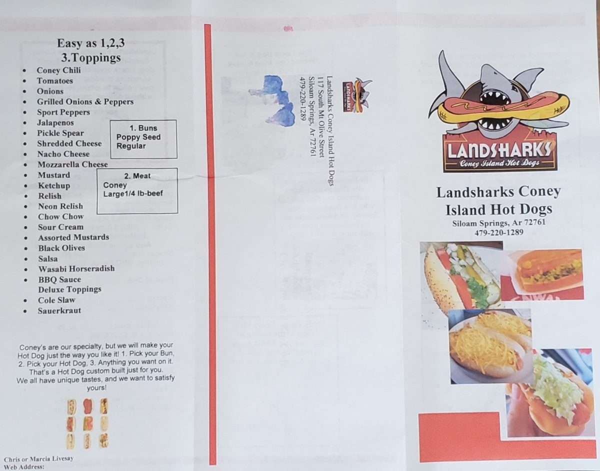 Landsharks Coney Island Hot Dogs Siloam Springs Menu 2