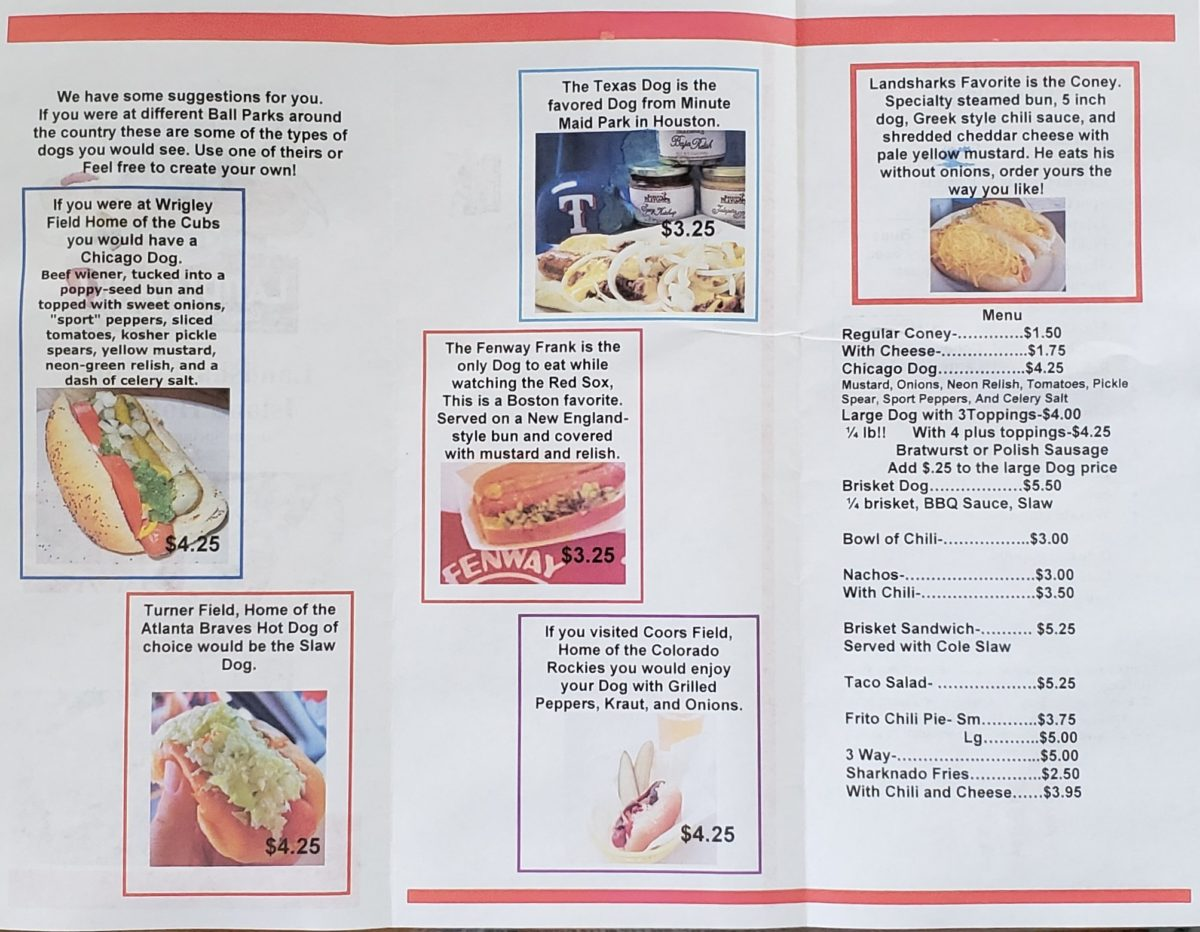 Landsharks Coney Island Hot Dogs Siloam Springs Menu 1