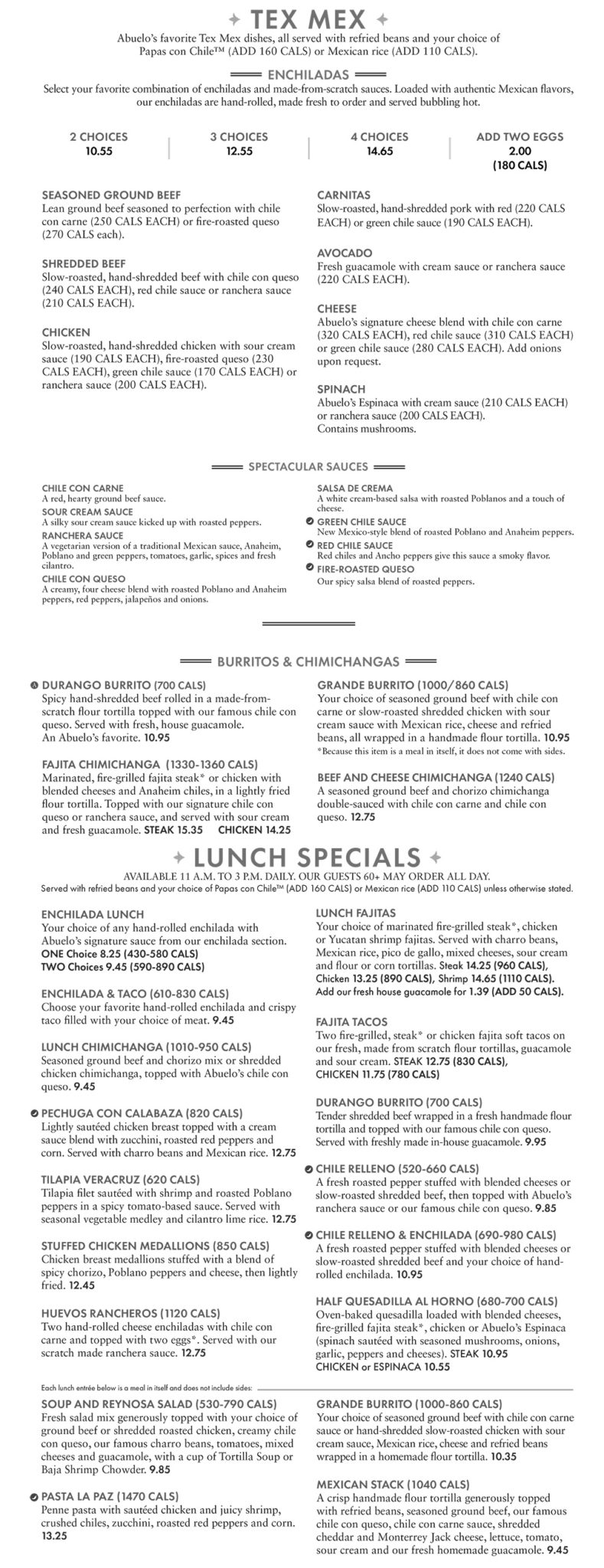 Abuelo's Mexican Restaurant Rogers Menu 3