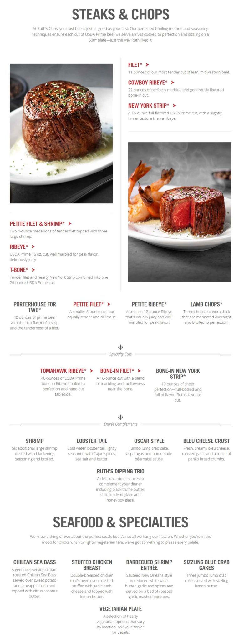 Ruth's Chris Steak House Menu 1