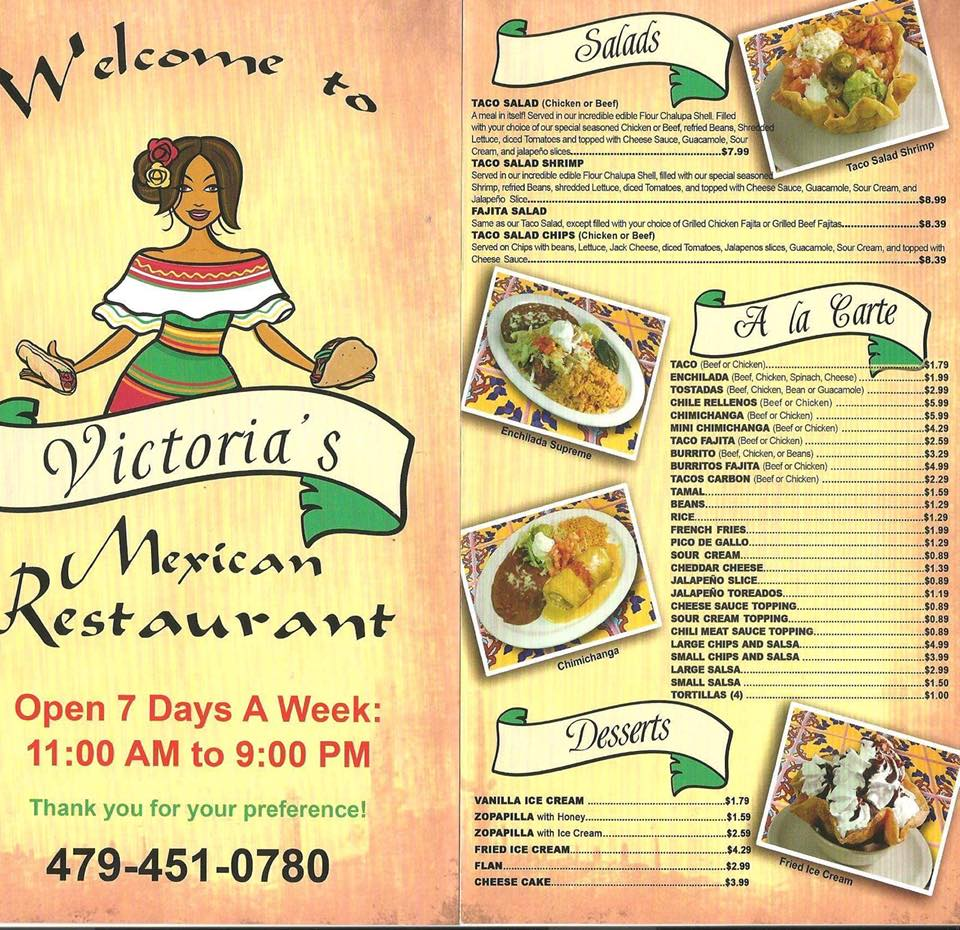 Victoria's Mexican Restaurant Pea Ridge Menu 1