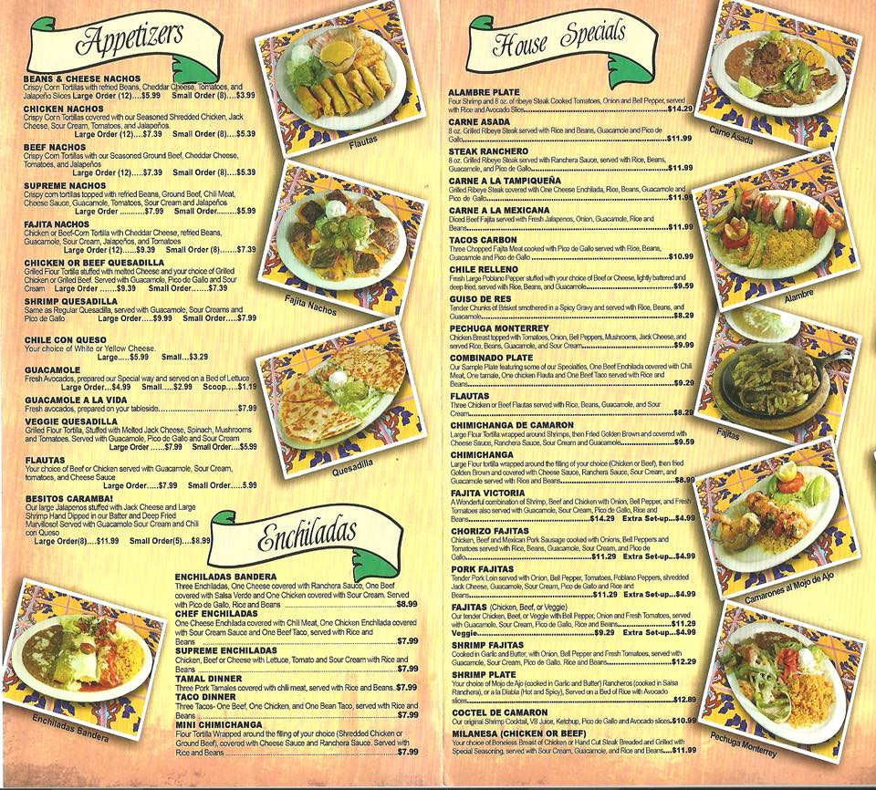 Victoria's Mexican Restaurant Pea Ridge Menu 2
