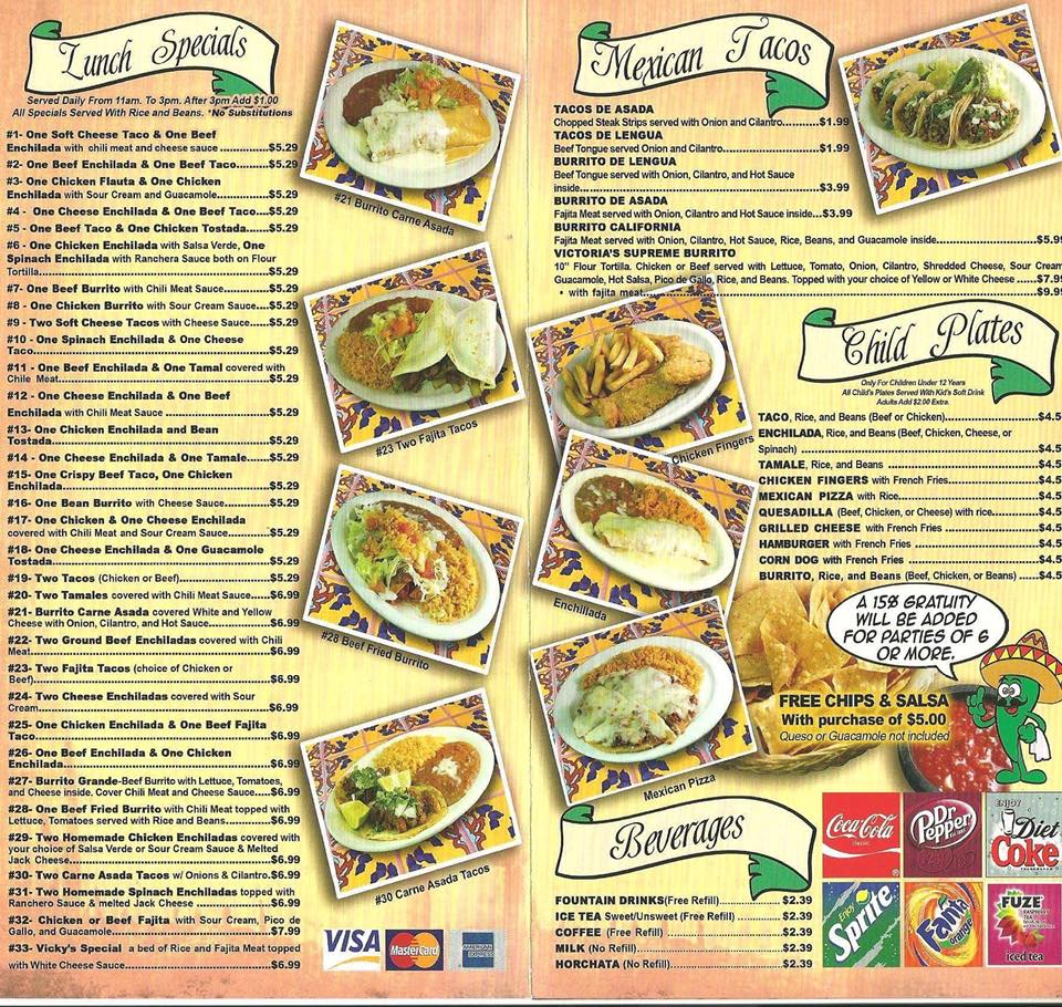 Victoria's Mexican Restaurant Pea Ridge Menu 3