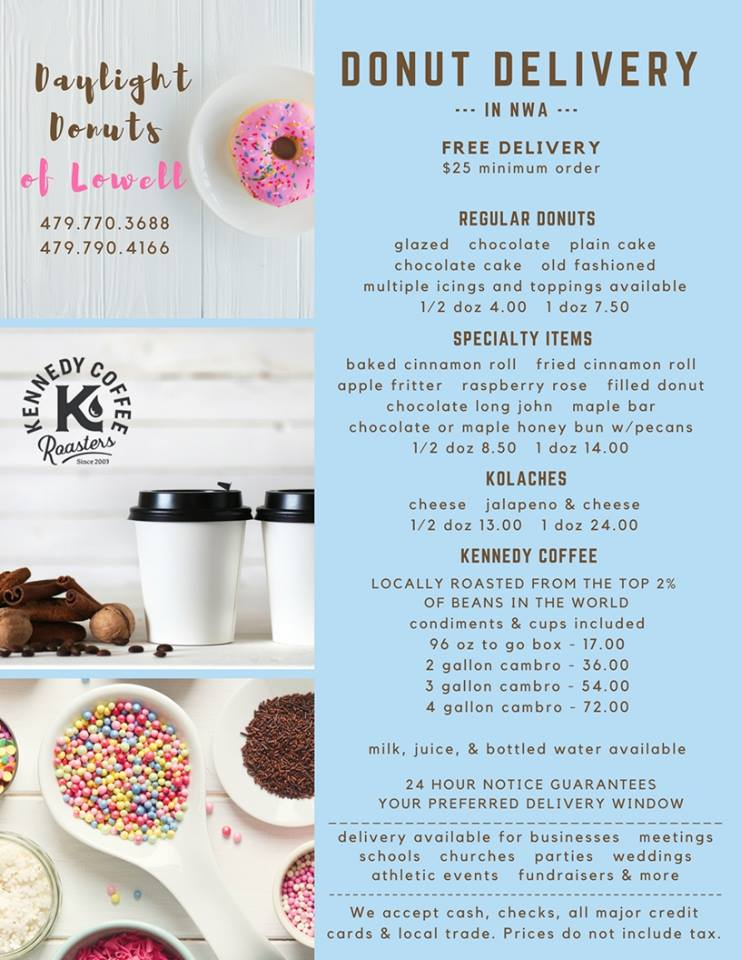 Daylight Donuts in Lowell Menu