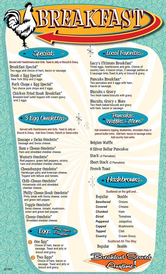 Lucy's Diner Rogers Menu 1