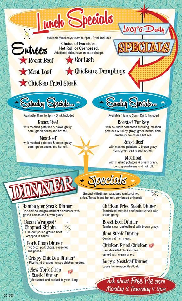 Lucy's Diner Rogers Menu 2