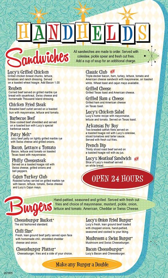 Lucy's Diner Rogers Menu 3