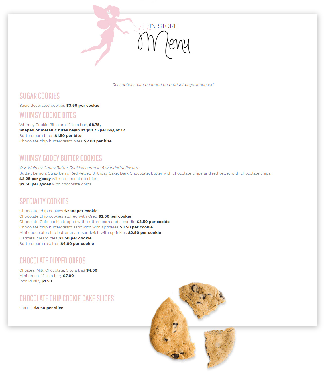 Whimsy Cookie Co. Menu
