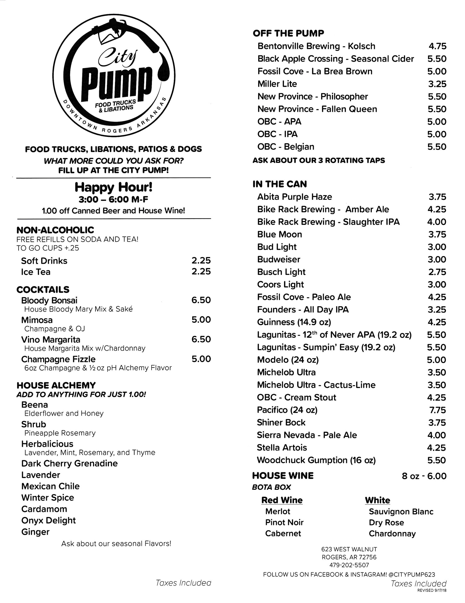 City Pump Downtown Rogers Menu