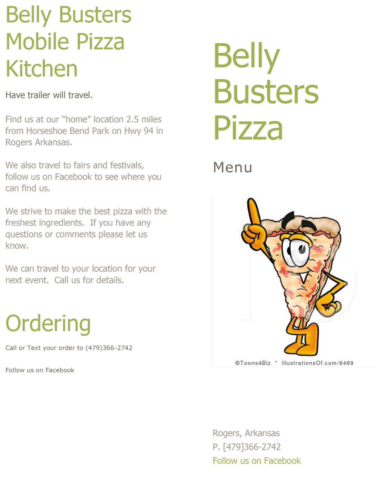 Belly Busters Mobile Pizza Kitchen Menu