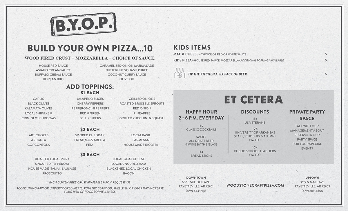 Wood Stone Craft Pizza + Bar Fayetteville Menu