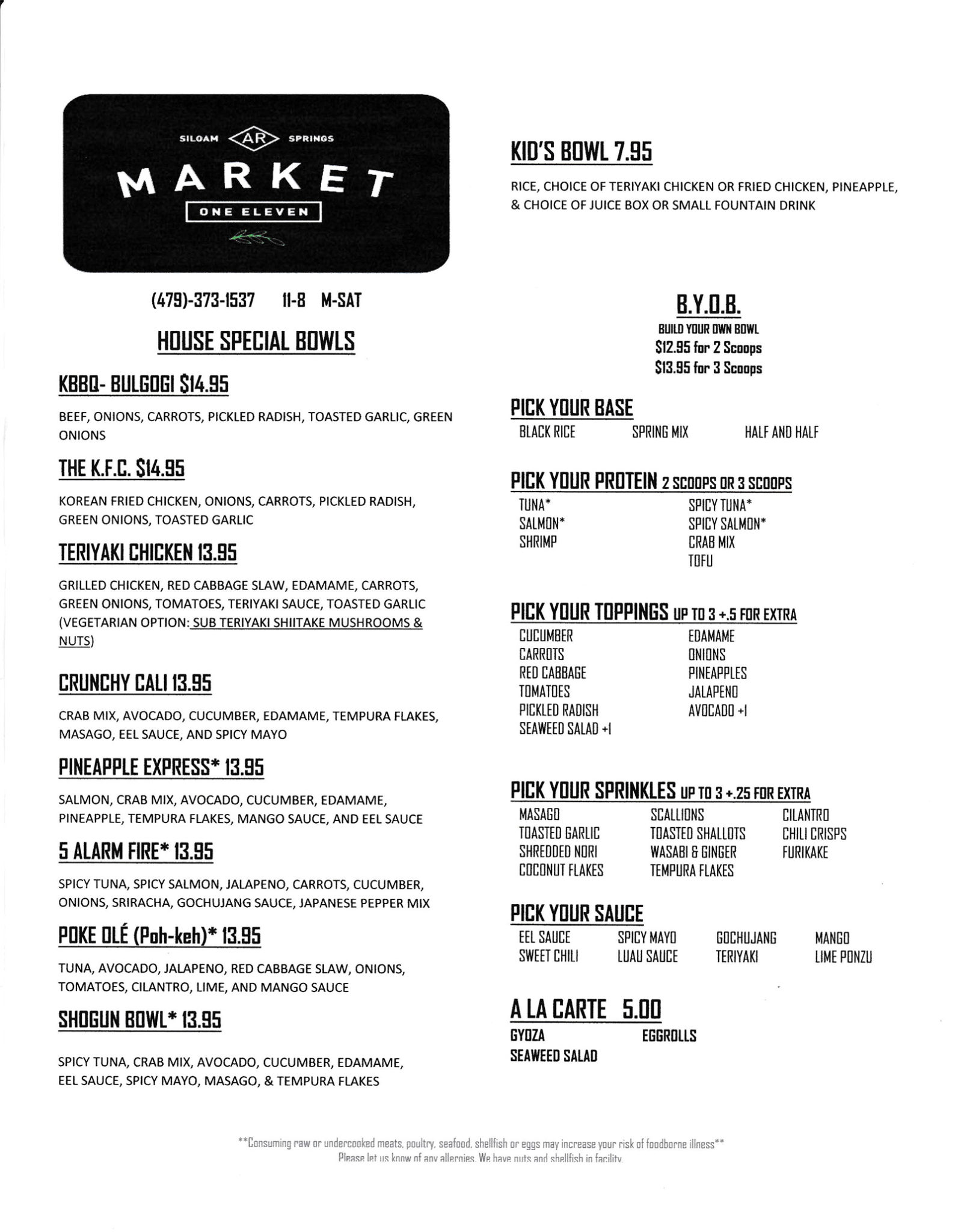 Market One Eleven Menu Siloam Springs